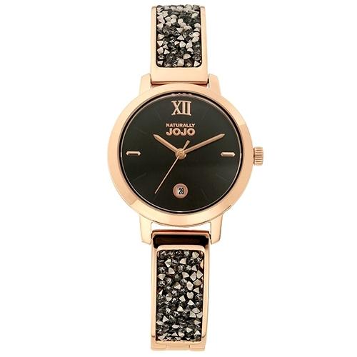 NATURALLY JOJO 玫瑰金 晶鑽 手環 女錶 (JO96942-88R) 黑/30mm