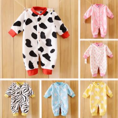 長袖連身衣 嬰兒奶牛粉色愛心保暖 包屁衣 W61087
