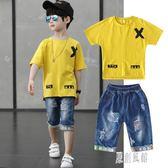 男童套装夏季牛仔褲短袖套裝2019新款兒童兩件套中大童卡通T恤潮 LR4593【原創風館】