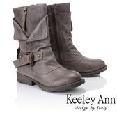 ★2018秋冬★Keeley Ann鉚釘龐克~個性環釦拉鍊層次真皮低跟中筒靴(灰色)