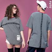 中性款 反光織帶寬版條紋圓領T / 黑白條紋