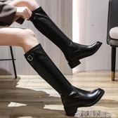 長靴女膝上年秋冬新款加絨粗跟高跟皮靴顯瘦騎士靴中筒小個子 格蘭小鋪