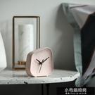 鬧鐘 白色石材鐘北歐台鐘簡約時鐘書桌面擺件小座鐘 小宅妮