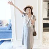 孕婦連身裙夏季新款韓版短袖孕婦裙中長款裙子孕婦裝夏裝上衣  遇見生活
