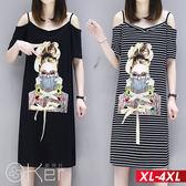 女孩圖案吊帶露肩連衣裙 XL-4XL O-ker歐珂兒 168222