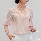 短袖襯衫2020春夏新款韓版女裝修身大碼打底衫短袖襯衫女純色雪紡衫 伊蒂斯