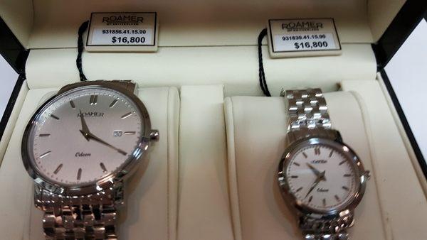ROAMER-銀面銀框鐵鍊-對錶(2隻)