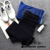 牛仔長褲/高腰女九分褲小腳黑色「歐洲站」