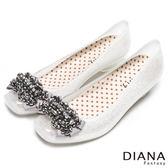 DIANA 漫步雲端點點款--時尚水鑽珠飾雨鞋-米