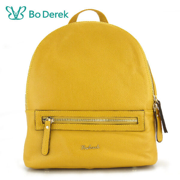 【BO DEREK】荔枝紋頭層牛皮後背包-芥末黃