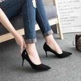尖頭高跟鞋 春秋季性感細跟夜店女黑色絨面鑽扣單鞋《小師妹》sm2023