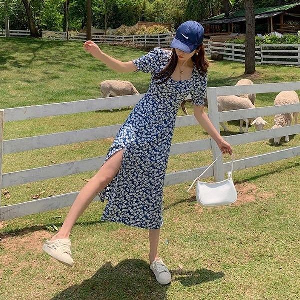 NiCELIFE 韓系 公主袖 洋裝 【D5523】碎花 純色 泡泡袖 連身裙 長裙 開岔 長洋裝