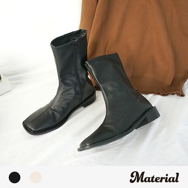 短靴 簡約壓線方頭短靴 MA女鞋 T3884