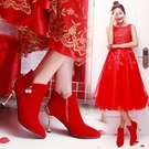 冬季婚鞋女新品高跟短靴 紅色新娘鞋子細跟...