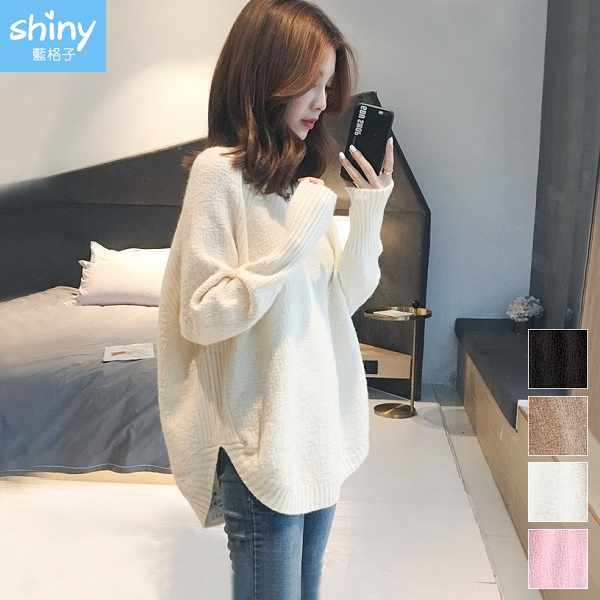 【V3174】shiny藍格子-時尚甜兒.純色寬鬆V領針織長袖上衣