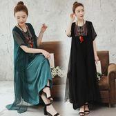 加肥大尺碼中長款寬鬆民族風刺繡棉麻假兩件短袖洋裝連身裙
