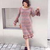 洋裝-長袖秋冬混色條紋針織女連身裙73pu56【巴黎精品】