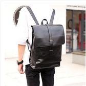 韓版皮質潮流翻蓋抽帶時尚商務男士PU雙肩包Eb16234『夢幻家居』