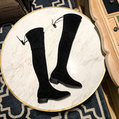新款低跟平底顯瘦長筒靴彈力靴過膝靴子不掉筒長靴女