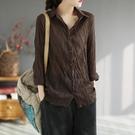2021春季新款文藝復古寬鬆大碼長袖襯衫百搭棉麻褶皺印花女士襯衣 設計師