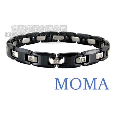 【MOMA】陶瓷鍺磁手鍊鑲鑽窄版-M62LD