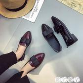 牛津鞋 英倫風漆皮小皮鞋女舒適平底尖頭單鞋黑色蝴蝶結低跟工作鞋新品