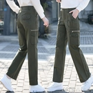 女士工裝褲工裝褲女顯瘦高腰寬鬆直筒純棉多口袋休閒褲新款春秋長褲子女 快速出貨