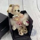 BRAND楓月 PRADA 普拉達 白色毛毛大手套熊熊 桃紅色珠珠裝飾 經典三角形LOGO 米白色熊熊 泰迪熊 吊飾