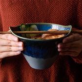 618年㊥大促 創意日式雙耳插筷拉面碗日系米飯碗沙拉碗斗笠泡面碗窯變星空碗