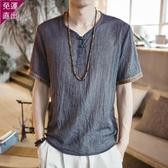 短袖上衣 短袖T恤男夏季薄款大尺碼寬鬆半袖上衣中國風唐裝漢服禪修短袖體恤  快速出貨