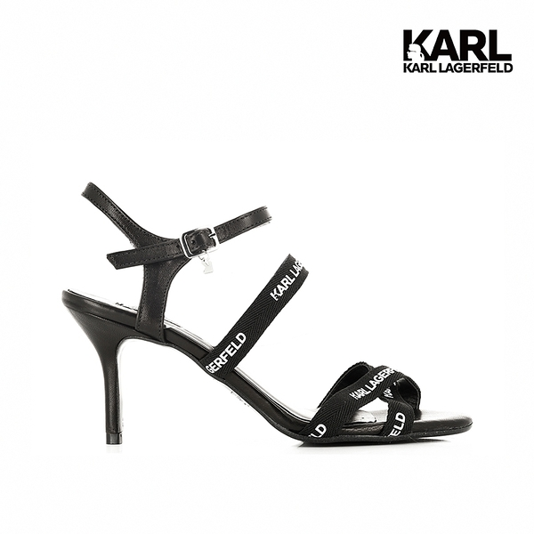 【KARL LAGERFELD】SARABANDE LOGO細帶高跟涼鞋-黑