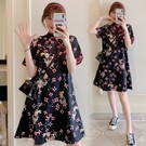 M-4XL洋裝~韓版大碼旗袍顯瘦連身裙8039 3F072-B胖妞衣櫥