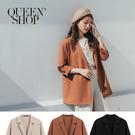 Queen Shop【02030355】大V翻領單排釦西裝外套 三色售 S/M*現+預*