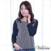 Victoria 文字繡異材質拼接九分袖T-深藍色-Y2505258(領劵再折)