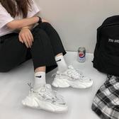 黑色老爹鞋女透氣網紅2020夏季ins潮超火休閒網面增高學生運動鞋