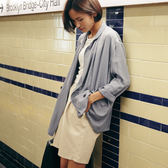 防曬西裝長袖外套 寬鬆 翻領 雙排釦 直筒 開衫/2色 - 夢想家- 0706