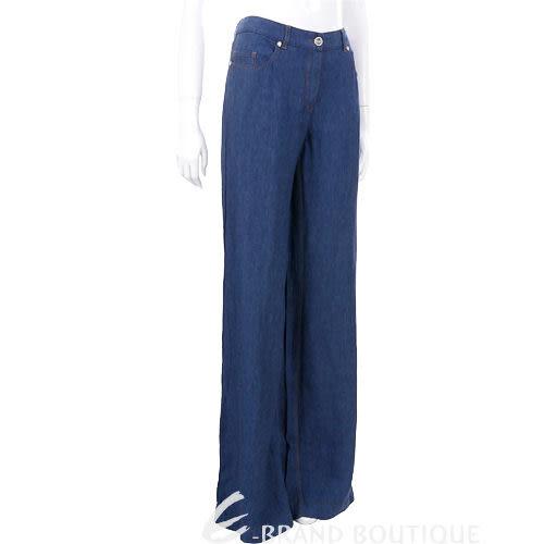 CLASS roberto cavalli 藍色繡花寬管喇叭褲  0920098-23