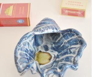 陶瓷藍色海螺煙灰缸