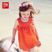 JJLKIDS 女童 簡約小格紋荷葉裝飾無袖洋裝 連身裙(橙色)