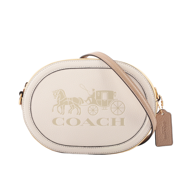 【COACH】荔枝皮革橢圓馬車拼色相機包(白色/奶油黃) C4164 IMSQQ