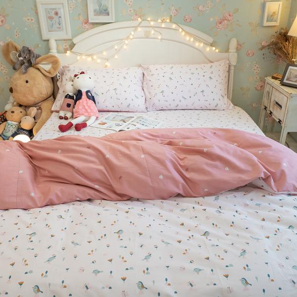 依比花園 Q3 雙人加大床包與雙人兩用被四件組 100%精梳棉 台灣製 棉床本舖