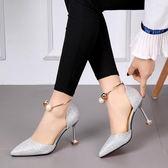 2018春季新款珍珠一字扣正韓尖頭高跟鞋銀色中跟細跟金色伴娘鞋女