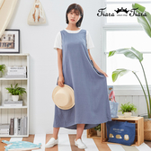 【Tiara Tiara】百貨同步新品aw  純色側綁帶背心洋裝(藍灰/黑)