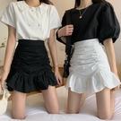 短裙 不規則白色高腰半身裙女春季2021年新款裙子A字裙包臀裙魚尾短裙