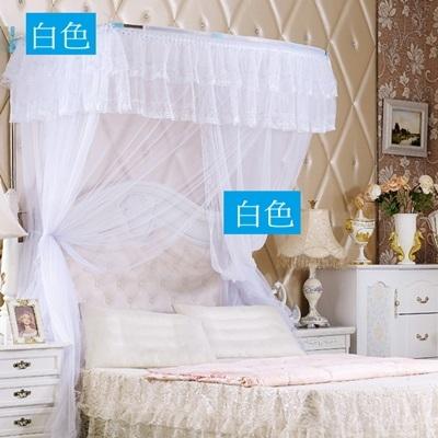 蚊帳方頂 寢具-1.5m/1.8mU型不銹鋼落地伸縮式公主宮廷式睡簾6色71e21[時尚巴黎]