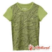 【wildland 荒野】中童 彈性棉感抗UV印花衫『淺綠』0A61660 T恤 上衣 休閒 戶外 登山 印花
