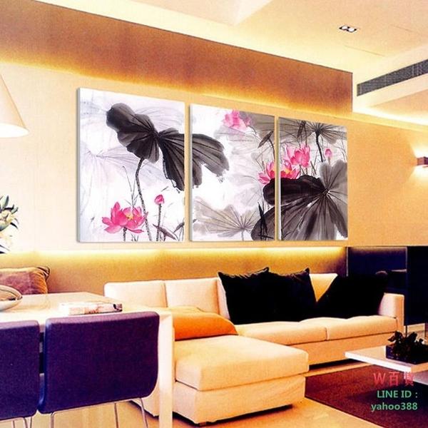無框畫裝飾畫客廳沙發背景三聯水墨荷花中國風無框版畫壁畫掛畫