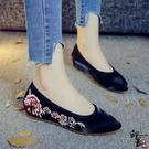 民族風復古女單鞋尖頭鞋 亮緞面繡花鞋布鞋 內增高軟底散步休閒鞋