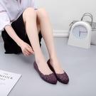 MG 夏季新款花朵鏤空果凍鞋女透氣涼鞋平底柔軟沙灘鞋時尚洞洞鞋