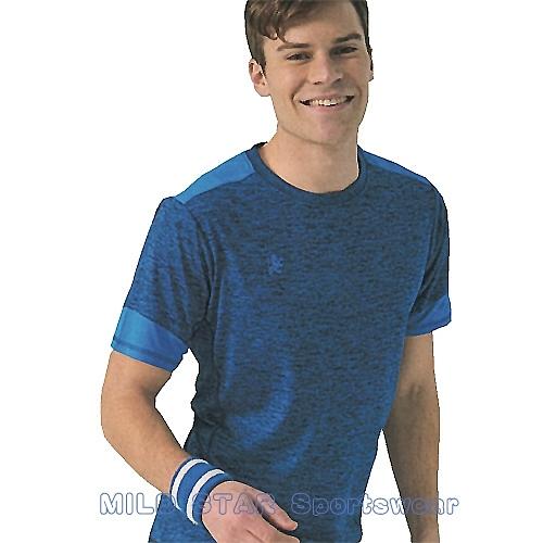MILD STAR 男女吸濕排汗短T恤-AS181005-寶藍麻花